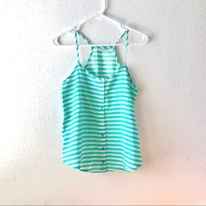 3/$20 🥰 Teal white striped button front cami